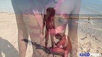 Lily, belle black baisée en bondage sur une plage naturiste [Full Video] preview image