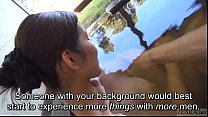 (nuda xxx) Subtitled Japanese mature Tae bathes in outdoor onsen thumbnail