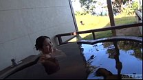 Subtitled Japanese mature Tae bathes in outdoor onsen [부끄러운 embarrassed]