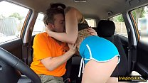 Tight tattooed babe fucked in the car