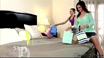Horny lezbo teens Aubrey and Emma make love in bed in sixtynine position porn image
