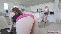 Busty blonde MILF stepmom blows her stepsons big cock