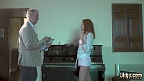 15521 Old man fucks hardcore a teen redhead licks her pussy and she takes facial preview