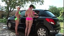 17143 Amateur old french couple analyzing an other younger couple outdoor preview