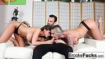 Brooke Brand shares a big cock with Brooklyn Chase's mouth's Thumb