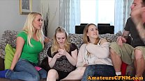 British CFNM babe shares cock with friends