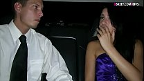 Skinny teen babe fucked in the limousine