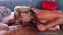Strapon clad slut blows