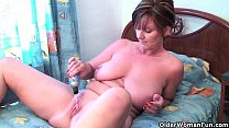 Granny Joy fucks her pussy and asshole with dildos Thumbnail