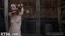 Tied up beauty receives perverted pleasuring for her pussy