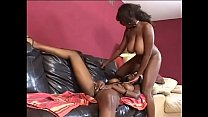 Slutty ebony lesbians in lingerie Candace Von and Nyomi Banxxx  fuck on the sofa with toys