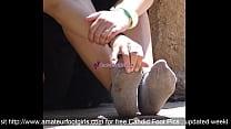 Girl Sweaty Worn Socks Shoeplay Smelling Sweaty