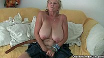 Grandma with big tits masturbates and gets fing...