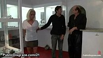 Chained blonde humiliated and fucked in public Preview