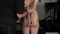 Screenshot Rope bondage an d sexy restrained kinky brunet ed kinky brunette