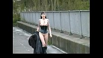 Goth Babe in Furry Coat Pisses Outdoors 2