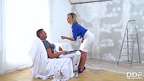 Painter coats busty horny blonde Chessie Kay's big tits with loads of cum