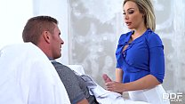Painter coats busty horny blonde Chessie Kay's big tits with loads of cum preview image