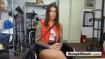 Stunning brunette sucks black dick 4 job Thumbnail