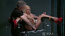 BDSM XXX Defiant sub gets Masters wrath before squirting over the dungeon floor preview image