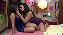 Asian babe licked by slut stepmom