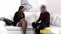 Fake Agent Smartly dressed brunette sucks and f...