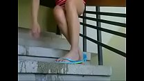 Hot latina milf squirting at the stairs thumbnail