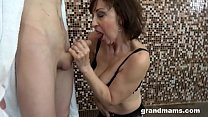 Horny granny fucks step nephew in the shower