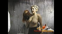 Kinky blonde has her massive tits tied up and s...