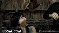 Clamped hottie gets her fuck holes pounded with...