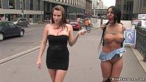Tied busty babe walked in public