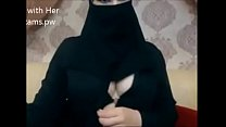Indian Muslim girl in hijab live chatting on we...