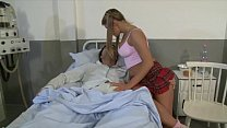 She takes care of her boyfriend in the hospital with a blow job!