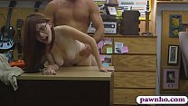 Babe with glasses screwed by pawn keeper at the pawnshop thumbnail