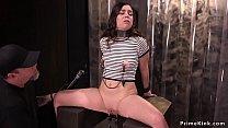 Brunette ass caned in device bondage