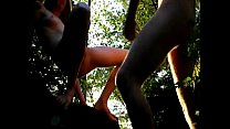 Horny couple gets naughty in woods صورة