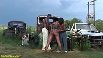 brutal african outdoor threesome orgy