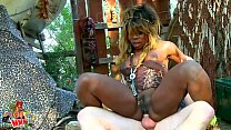 Black African Voodoo Witch anal fucking and squirting like a whore