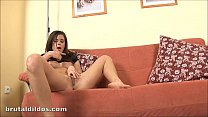 Innocent teen Lola stretched out by a brutal dildo Image