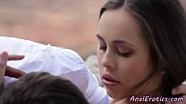 Classy euro assfucked slowly after foreplay