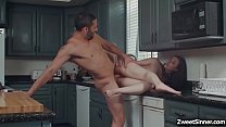 Flirty assistant seduces her boss husband in the kitchen and started a quick sex with him while her boss is busy in her office. thumbnail