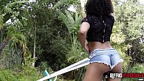 Curly hair ebony Misty Stone fully satisfied by black dong image