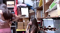 Petite teen whores have to please the perverted officer
