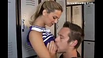 Cute cheerleader chick laid in the locker room's Thumb