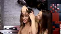 Hot teens Ashlie and Mika play with each other in the garage by Sapphic Erotica