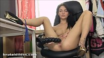 Petite Belle Claire pussy stretching with brutal dildo thumbnail