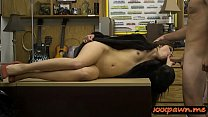 Girl in fur coat drilled at the pawnshop