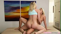 Lesbian masseuse pussylicking before tribbing preview image