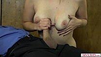 Hot redhead sucks guy and makes him cum
