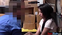 Shy teen shoplifter got caught and fucked for freedom